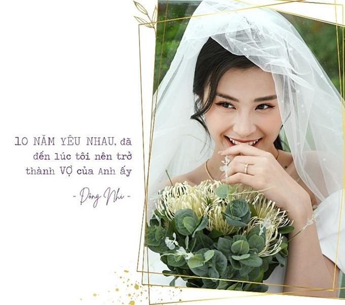 Em đồng ý được cùng anh đi đến cuối cuộc đời. Cũng đã đến ngày em trở thành cô dâu, Đông Nhi hạnh phúc chia sẻ khi nguyện làm người đầu gối tay ấp cùng Ông Cao Thắng.