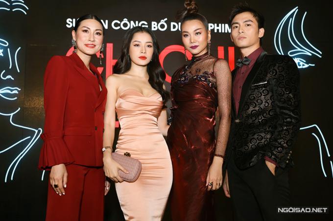 Lãnh Thanh, Thanh Hằng, Chi Pu và đạo diễn Kathy Uyên (từ phải qua) tại buổi họp báo phim chiều 24/9.