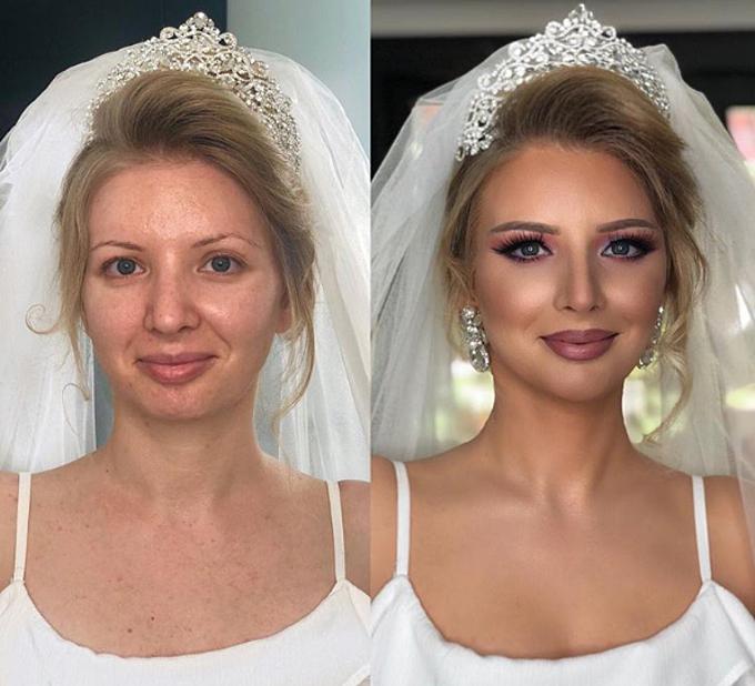 Khi tất cả khuyết điểm của làn da được giấu bằng lớp phấn nền có độ che phủ cao và đôi mắt ánh tím, bạn đã trở thành một cô dâu cổ tích.