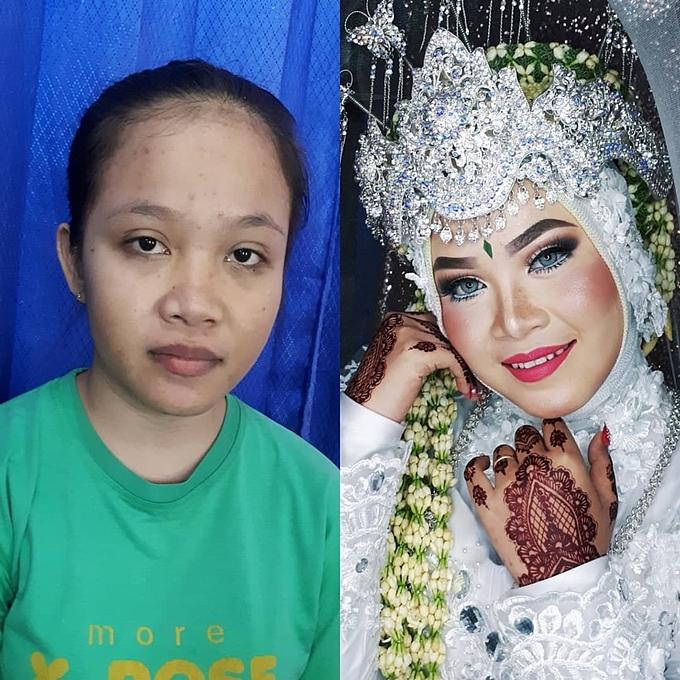 Cách kết hợp của những màu sắc son môi, phấn mắt và việc tạo khối giúp đường nét trên khuôn mặt cô dâu ấn tượng hơn.