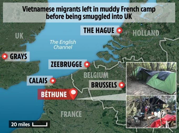 Địa điểm nhóm người Việt ở và con đường họ có thể đi để sang Anh. Ảnh: The Sun.
