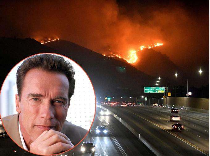 Arnold Schwarzenegger sơ tán trong đêm vì hỏa hoạn. Ảnh: Reuters.