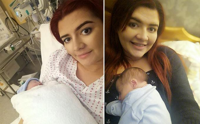 Lauren Middleton và con trai tại bệnh viện thành phố Leeds, Anh(trái) và hiện ở nhà (phải). Ảnh: SWNS.