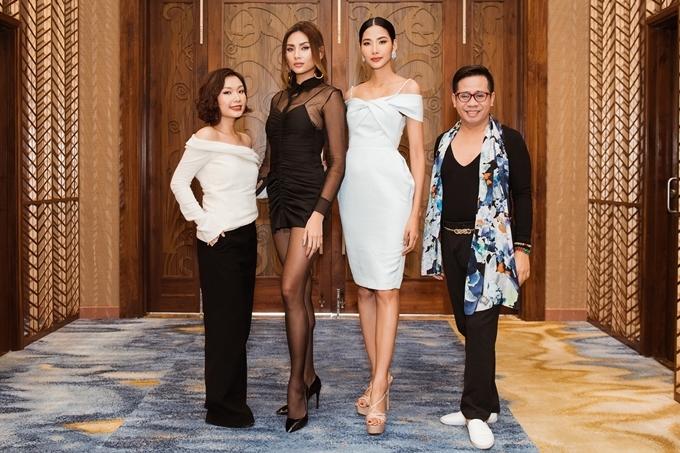 Trong tập 1 của chương trình Đường tới Miss Universe 2019 với chủ đề Dám sải bước, Hoàng Thùy hội ngộ chuyên gia đào tạo catwalk Santos Anjo (phải), siêu mẫu Võ Hoàng Yến, stylist Cindy Nguyễn (trái).