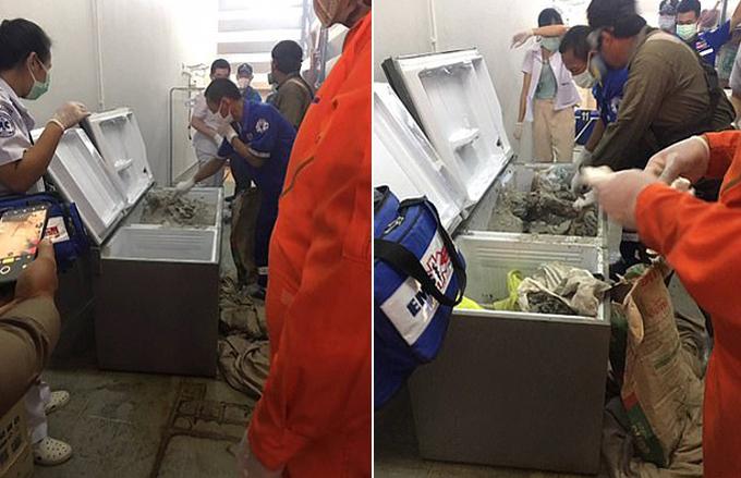 Xác của nữ triệu phú Wannee bị đổ bê tông trong tủ lạnh ở căn nhà của bà tại Chiangmai. Ảnh: Viral Press.