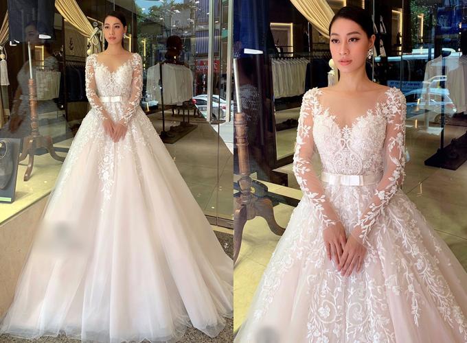 Váy cưới được đắp ren mang phong cách thời trang Trung đông, có dáng xòe nhẹ nhàng, giúp cô dâu có được vẻ đẹp nữ tính, gợi cảm. Váy có giá thuê 20 triệu đồng, giá bán 40 triệu đồng. Trang phục: Juliette Bridal