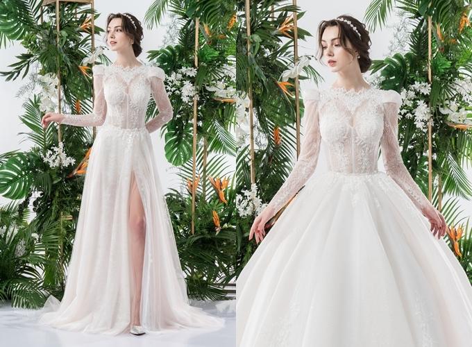 Váy cưới 2 trong 1 được làm từ chất liệu vải tuyn, ren Pháp Chantilly. Váy có dáng xẻ đùi, dễ dàng di chuyển, tiếp tiệc. Váy xẻ có giá thuê là15 triệu đồng, giá may 30 triệu đồng, tùng đính kèm có giá thuê 5triệu đồng.