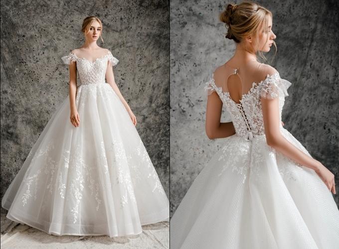 Váy cưới Sapphire nhấn nơi vòng eo thon.