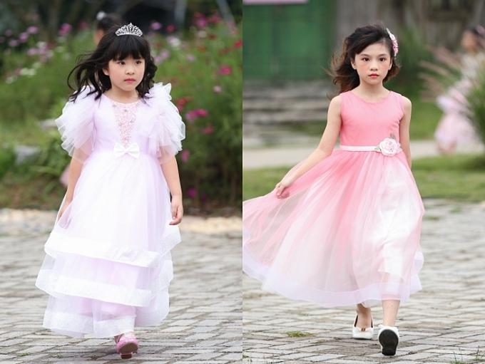 Các mẫu nhí như nàng công chúa nhỏ dạo chơi giữa khu vườn mùa thu trong lâu đài cổ tích.