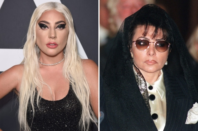 Lady Gaga (trái) tái hiện chân dung vợ cũ của Maurizio Gucci (phải).