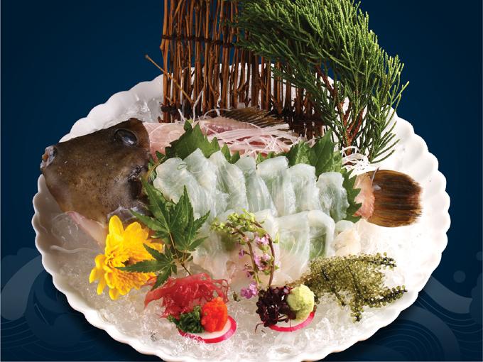 Với hàm lượng chất béo cá cao, Kawahagi Sashimi là món ăn ngon trong mùa đông Nhật Bản.