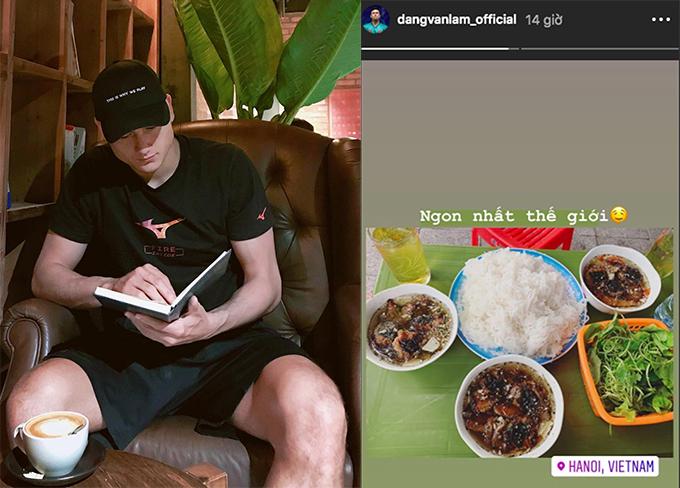 Văn Lâm không thể bỏ qua món bún chả và phở mỗi khi về Hà Nội. Ảnh: Instagram.