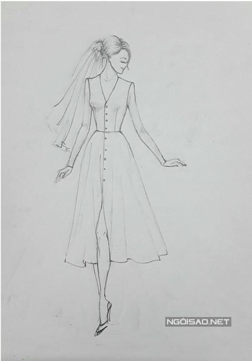 Ở bản phác thảo, các chi tiết váy được thể hiệnrõ nét hơn. Váycó độ xòe, rủ mang phong cách cổ điển, vượt thời gian. Bộ cánh cũng có cổ V giúp cô dâu khoe khéo nét đẹp gợi cảm. Lê Thanh Hòa chấm phá nét cá tính ở phần vai theo phom dáng của blazer. Điểm hút ánh nhìn của bộ cánh tối giản là hàng nútở phía trước.Bộ hình được thực hiện bởi phác thảo & váy cưới: Lê Thanh Hòa, nhiếp ảnh: Huỳnh Trí Nghĩa, stylist: Nhật Thiện.