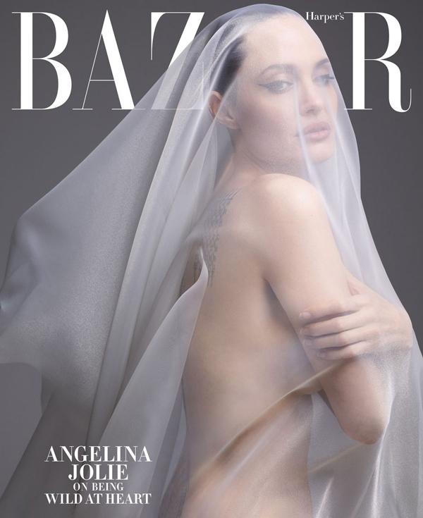 Angelina Jolie nhận lời làm gương mặt trang bìa của tạp chí thời trang Harper's Bazaar. Nữ diễn viên cởi đồ, để lộ thân hình gợi cảm qua chiếc khăn voan. Sau rất nhiều năm, Jolie mới thoải mái khỏa thân trước công chúng. Cô tâm sự: Một phần trong con người chúng ta là tự do, hoang dã, cởi mở và hiếu kỳ - những điều có thể bị đóng chặt bởi những đau khổ của cuộc sống. Các con tôi biết con người thật của tôi và bọn trẻ giúp tôi tìm kiếm lại chính mình để nắm bắt nó.