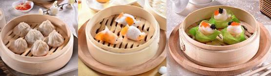 Một số món dimsum nổi tiếng của ẩm thực Trung Hoa: bánh bao Tiểu Long Thượng Hải, cảo cá vàng, cảo điệp cơ nấm cục đen