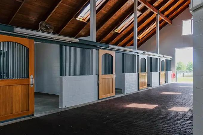Khu vực chuồng ngựa được vệ sinh sạch sẽ với một số nội thất bằng gỗ sang trọng. Ngoài ra, không gian này còn được thiết kế với nhiều giếng trời để đảm bảo đủ ánh sáng tự nhiên cần thiết dành cho những con ngựa có giá lên đến hàng trăm nghìn USD của tiểu vương. Ảnh: BI.