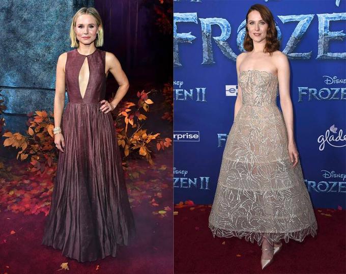 Hai ngôi sao lồng tiếng cho phim: Kristen Bell (trái) vai Anna và Evan Rachel Wood (vai Iduna - mẹ của Elsa và Anna).
