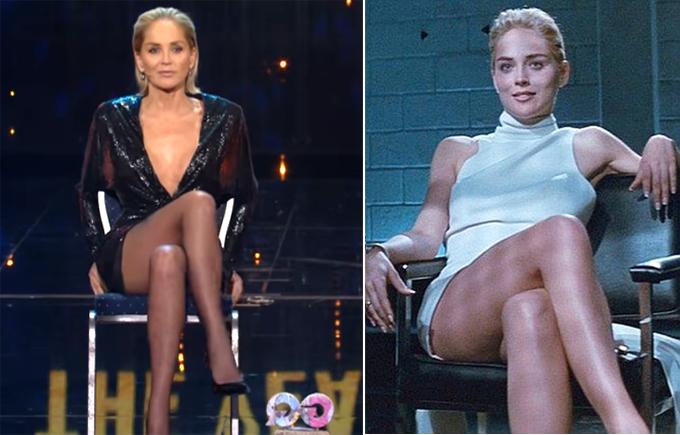 Sharon Stone tại lễ trao giải GQ thực hiện lại cảnh đổi chân (ảnh trái) giống như trong Bản năng gốc 27 năm trước (phải).