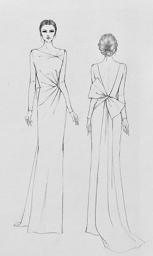Bản phác thảo cho thấy chi tiết mặt lưng váy có khoảng hở, tôn vẻ sexy của cô dâu. Phần nơ to bản được chọn làm điểm nhấn, có tà phụ dài để tạo sự lôi cuốn cho cô dâu khi di chuyển.