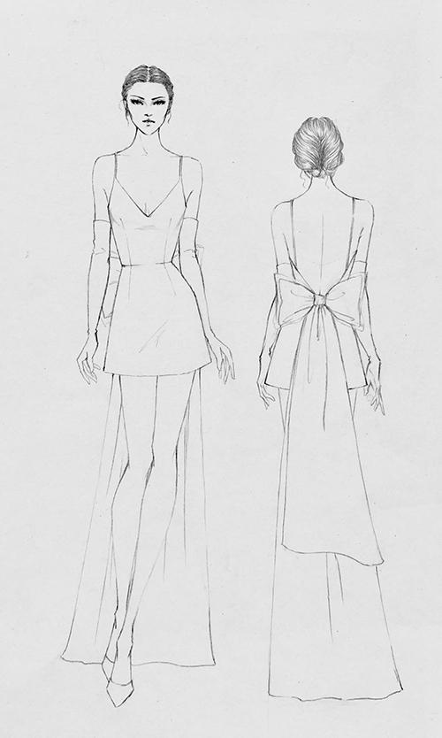 Mẫu đầm có thiết kế hai dây, độ dài tới ngang đùi. Váy có nét tương đồng với bộ cánh trước đó vì đều cókhoảng hở, giúp cô dâu khoe tấm lưng thon, nước da trắng ngần. Nơ to bản đóng vai trò là tà phụ của váy.