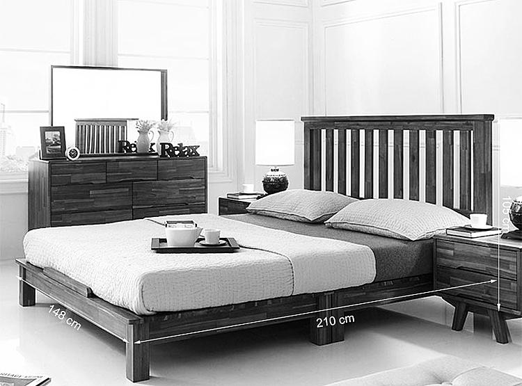 Kích thước giường đôi Coco gỗ tràm.