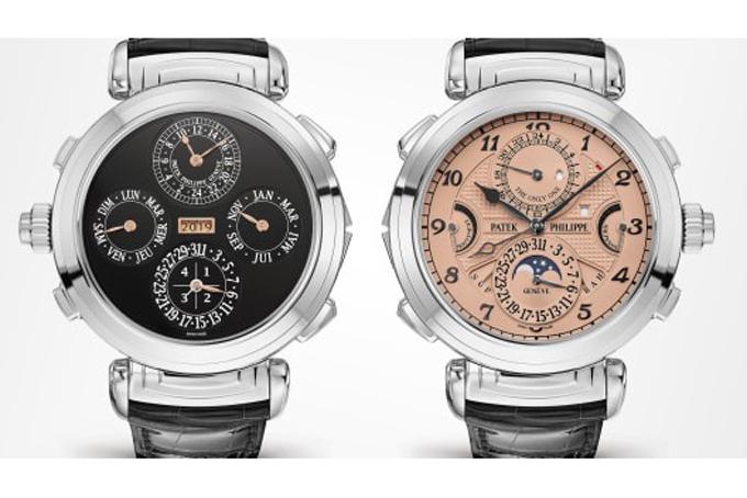 Hai mặt trước sau với hai màu của chiếc đồng hồ Patek Philippe Grandmaster Chime. Ảnh: Christie's.