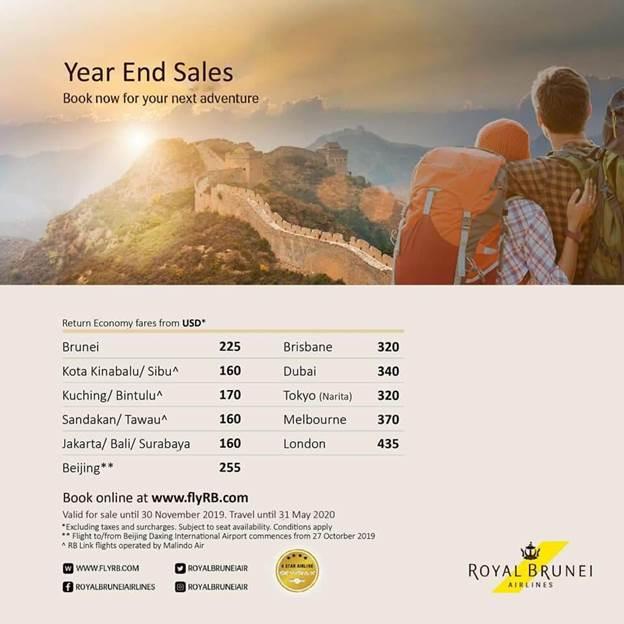 Chương trình khuyến mãi được hãng hàng không Royal Brunei Airlines triển khai trên nhiều hành trình với mức giá tiết kiệm ưu đãi, hấp dẫn.