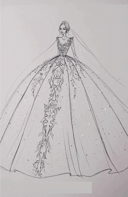 Bản vẽ phác thảo bộ lễ phục của Kim Thủy.