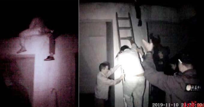 Wang từ bỏ ý định tự tử sau khi được cảnh sát thuyết phục. Ảnh: Red Star News.