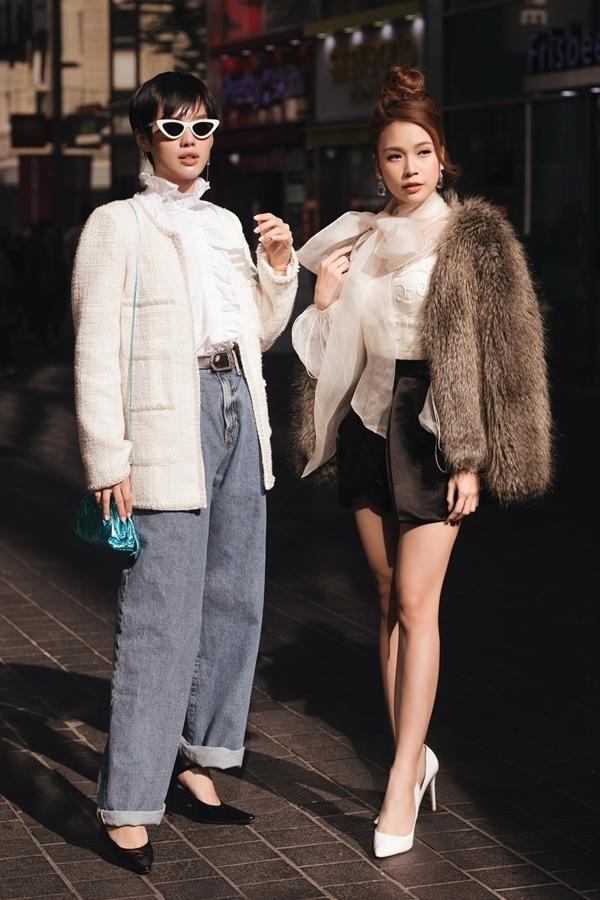 Phong cách streetstle nổi bật của hai mỹ nhân trên đường phố Hàn.
