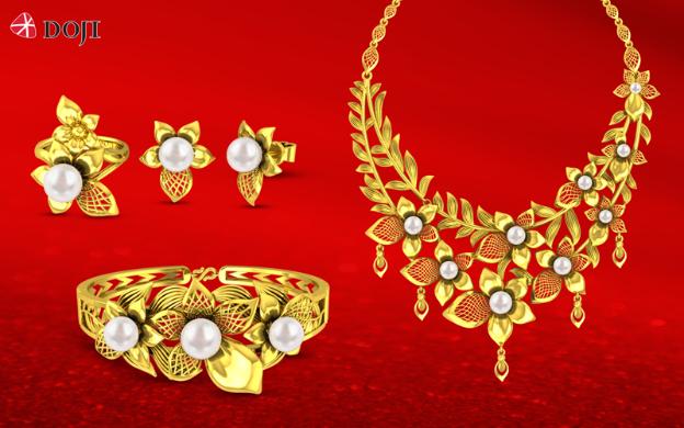 DOJI còn dành tặng khách hàng ưu đãi tới 25% dành cho tiền công chế tác trang sức vàng 24K được chế tác bởi công nghệ 3D hiện đại và quà tặng vàng Kim Bảo Phúc.