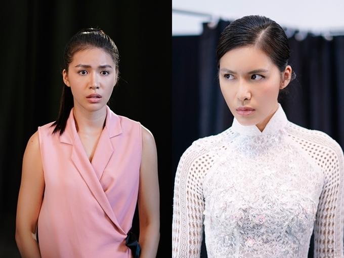 Minh Tú đóng vai Mây hiền lành (trái) và Lá đanh đá.