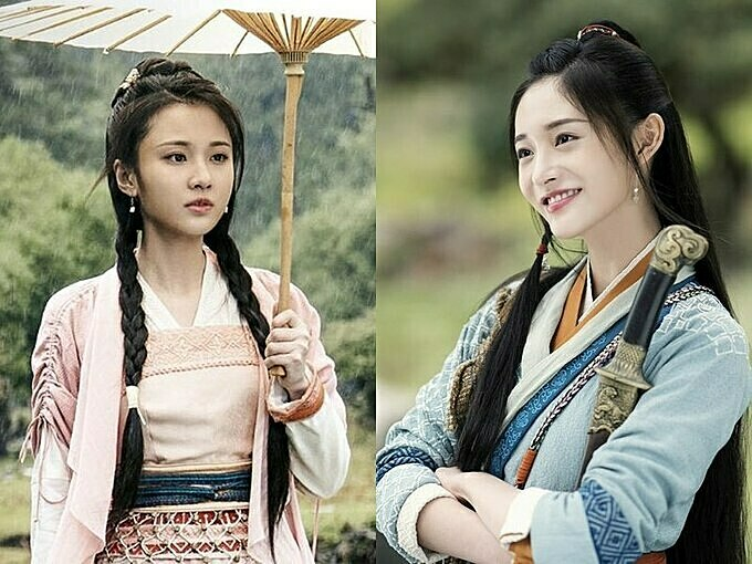 Tạo hình của Trương Tuệ Văn (trái) và Châu Khiết Quỳnh (phải) được cho là đẹp hơn của Triệu Lệ Dĩnh.