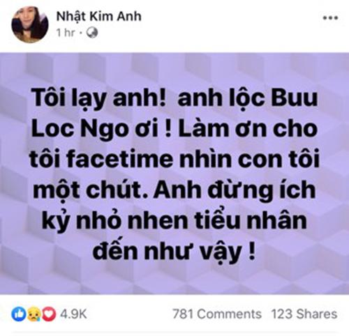 Nhật Kim Anh bức xúc vì chồng cũ không cho facetime gặpcon trai.