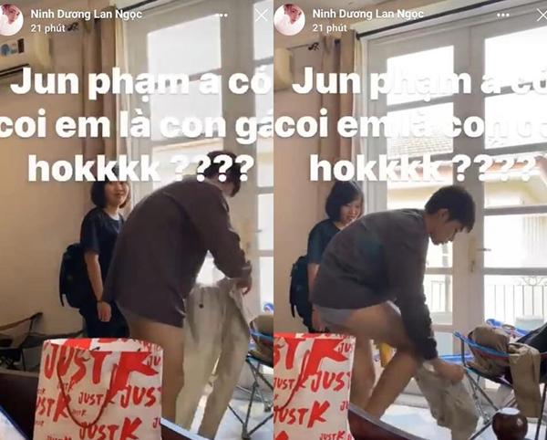 Lan Ngọc đăng video Jun Phạm thay quần trước mặt mình. Ảnh cắt từ video.