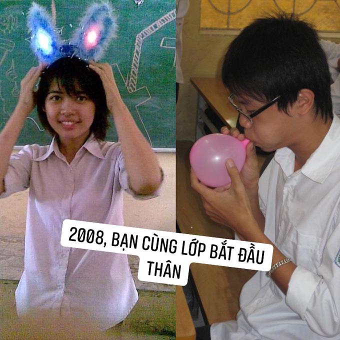 Thanh Hằng đihọc sớm 1 năm nên mới học cùng lớp với Quang Trường - người hơn cô 1 tuổi, sinh năm 1992. Tới lớp 11, cả hai mới bắt đầu nói chuyện nhiều với nhau.