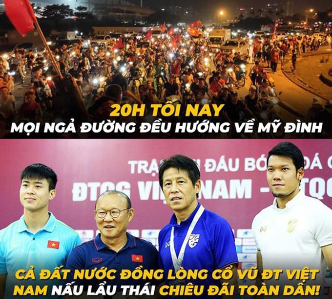 20h tối 19/11, trận đấu giữa đội tuyển Việt Nam và Thái Lan sẽ diễn ratrên sân vận động Mỹ Đình. Người hâm mộ cả nước đang hướng về cuộcso tài kịch tínhgiữa hai đội bóng trong bảng G vòng loại World Cup 2022.