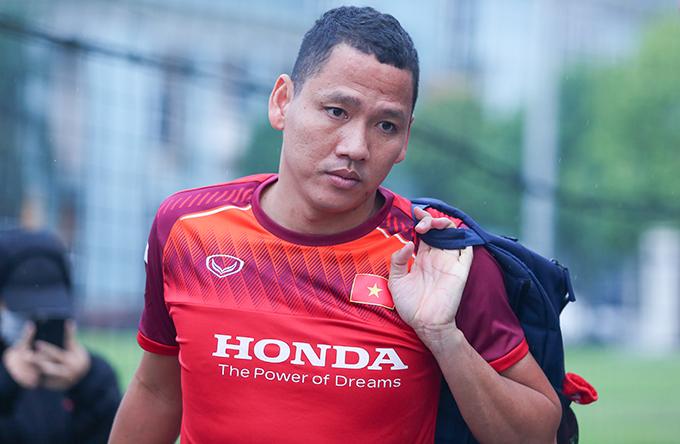 Anh Đức trong một buổi ra sân tập cùng tuyển Việt Nam ở vòng loại World Cup 2022. Ảnh: Đương Phạm.