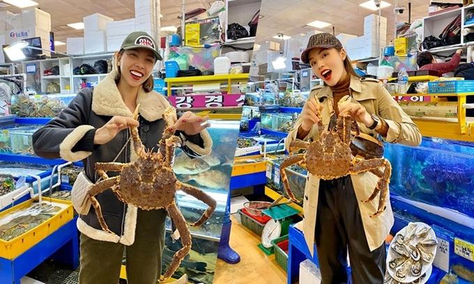 Giữa tháng 11, Minh Triệu - Kỳ Duyên vừa có dịp khám phá chợ hải sản Noryangjin lớn nhất Seoul trong chuyến du lịch sinh nhật Kỳ Duyên. Đây là thiên đường dành cho các tín đồ hải sản mỗi khi đến thủ đô Hàn Quốc. Bạn có thể tìm được cả nghìn loại hải sản từ mắc tới rẻ, còn tươi sống.