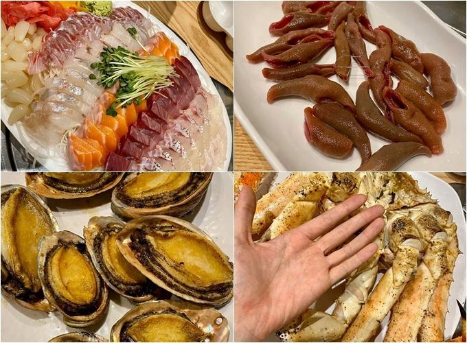 Đi chợ một vòng, hai người đẹp chọn thưởng thức 4 món hải sản đặc trưng là cá dương vật, bào ngư, sashimi các loại cávà một con cua hoàng đế to hơn bàn tay. Minh Triệu còn nói, con cua này chắc to bằng người cô, còn càng dài bằng cả cánh tay, trông rất đã. Giá mua tươi sống tổng cộng gần 5 triệu đồng, đủ cho 4 người ăn no nê.