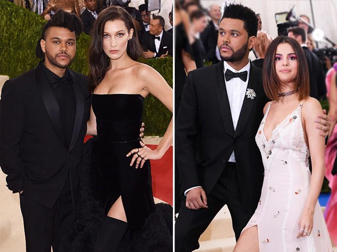 Selena hẹn hò The Weeknd (phải) từ tháng 1/2017 đến tháng 9/2017 trong khoảng thời gian nam ca sĩ chia tay Bella Hadid.