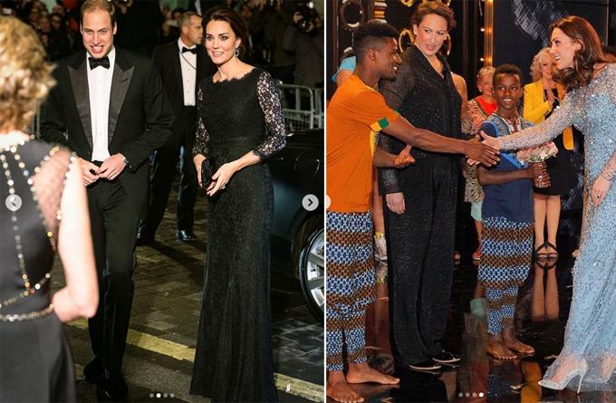 Vợ chồng William đến xem chương trình của Royal Variety năm 2014 (trái) và 2017 (phải).