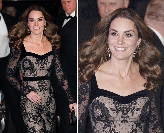 Kate được khen ngợi khi diện váy ren đen của Alexander McQueen, kết hợp với giày cao gót, thắng lưng và cả clutch đơn giản cùng màu.