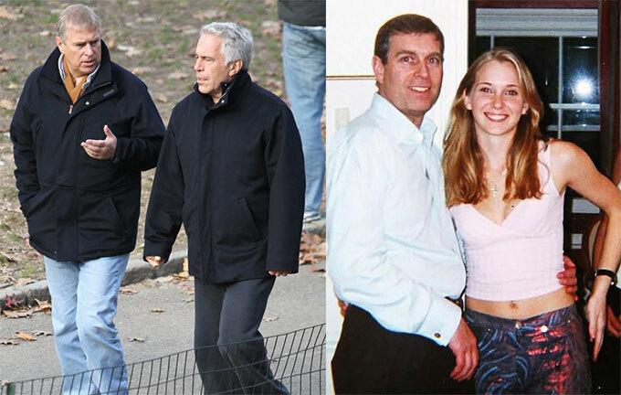 Hoàng tử Andrew trò chuyện với tỷ phú Epstein ở Mỹ năm 2010 (trái) và ôm eo Virginia Robert ở London năm 2001. Ảnh: Rex.
