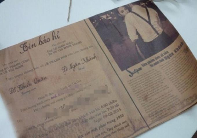 Trong thiệp cưới Ngân Khánh còn ghi rõ, các khách mời sẽ diện trang phục cổ điển từ những năm 1950.
