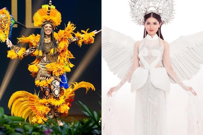 bởi nhiều nước châu Mỹ thường làm trang phục về các loài chim nổi tiếng ở đất nước họ. Năm 2017, Á hậu Thùy Dung cũng từng mang đến Hoa hậu Quốc tế một bộ áo dài có chủ đề cánh cò.