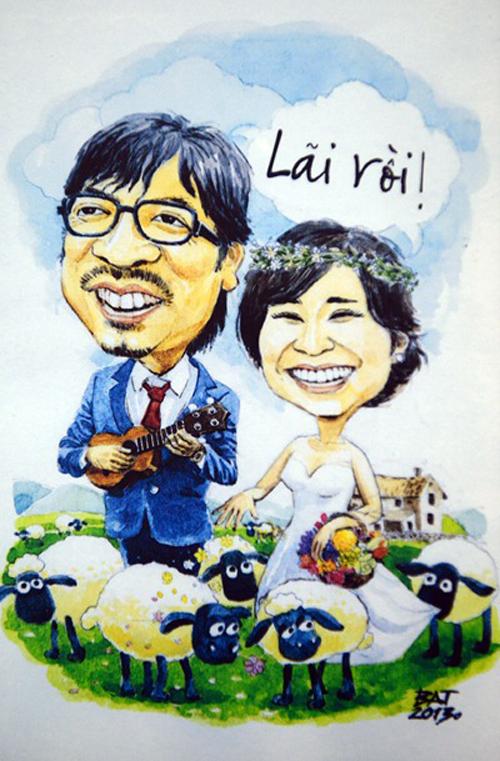Thiệp cưới tranh biếm họaĐinh Tiến Dũng (tên gọi khác: giáo sư Cù Trọng Xoay) và Hồng Nga đã lựa chọn kiểu thiệp hài hước để thông báo tới khách mời về hôn lễ ngày 6/4/2013.