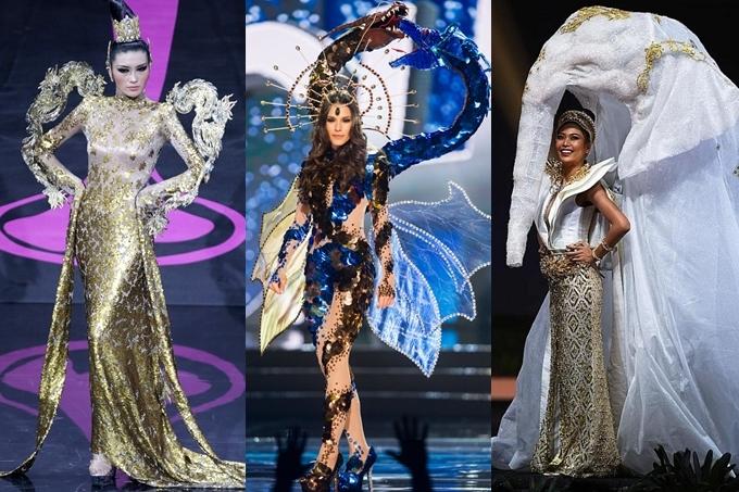 Tuy nhiên, hình tượng linh vật trong truyền thuyết cũng được các nước khai thác trước đó. Từ trái qua: Trung Quốc 2013, Chile 2015, Thái Lan 2018.