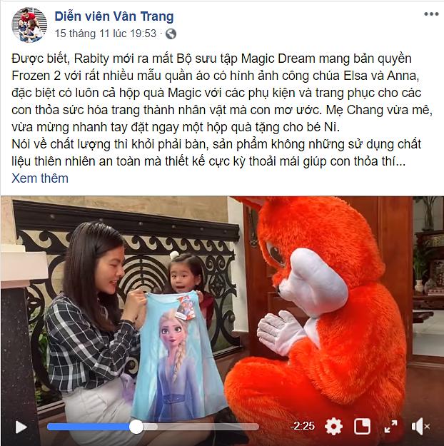 Dòng chia sẻ cùng video của Vân Trang trên Facebook cá nhân.