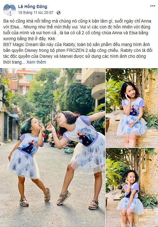 Diễn viên Hồng Đăng đăng tảihình ảnh của hai con gái trên Facebook.